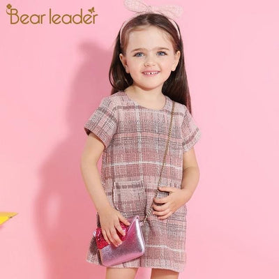 Plaid Pocket Design Princess Dresses - Pink / 3Y - Girls