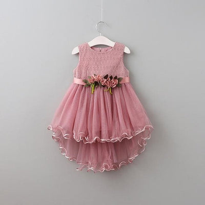 Princess Flowers Belt Dress - Pink / 5Y - Girls