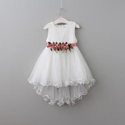 Princess Flowers Belt Dress - White / 5Y - Girls