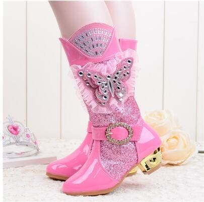 Princess High-Heel Martin Butterfly Powder Snow Warm Boots - Girls