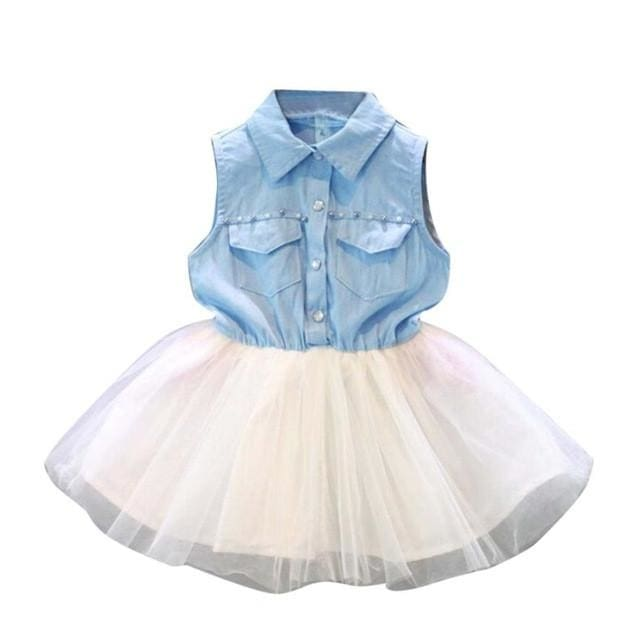 Princess Lace Dress Denim Tutu Dress - Girls