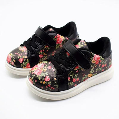 Printed Floral Sneakers - Black / 5.5 - Girls