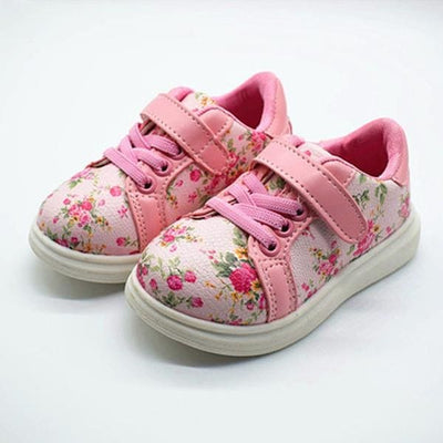 Printed Floral Sneakers - Pink / 5.5 - Girls