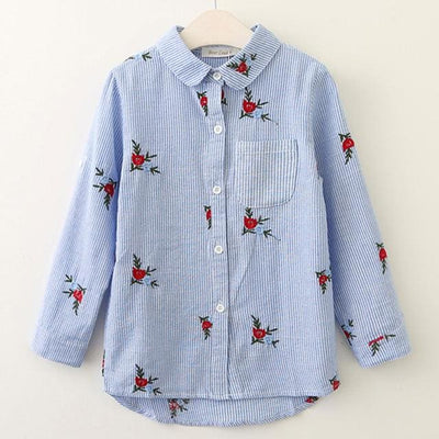 Red Flowers Embroidery Strip Shirts - Blue -1047 / 3T - Pre-Order