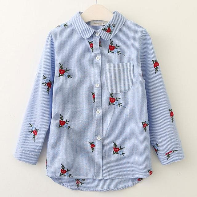 Red Flowers Embroidery Strip Shirts - Pre-Order