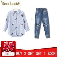 Red Flowers Embroidery Strip Shirts - Blue-1047-642 / 3T - Pre-Order