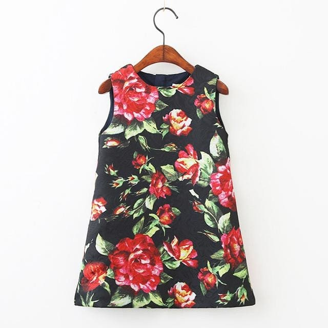Rose Flowers Print Sleeveless - Girls - Dress
