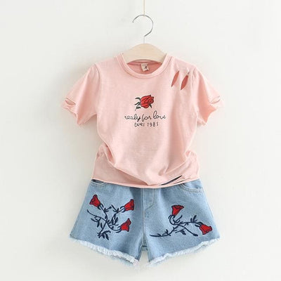 Rose Print Sets - Pink / 5Y - Girls - Outfit
