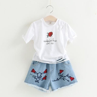 Rose Print Sets - White / 5Y - Girls - Outfit