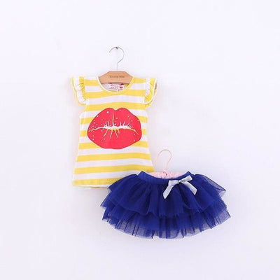 Set Big Butterfly Short Vest Tee And Skirt - Yellow / 3Y - Girls