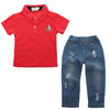 Sets 100% Cotton Red Short Sleeve T-Shirt And Jeans - Boys
