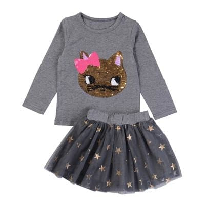 Sets Cartoon Sequins Cat Long Sleeve+Stars Skirt - Girls