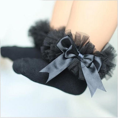 Short Ankle Bow Sock - Black / 4Y To 6Y - Girls