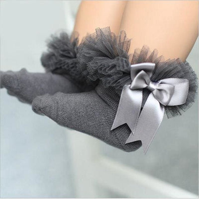 Short Ankle Bow Sock - Grey / 4Y To 6Y - Girls
