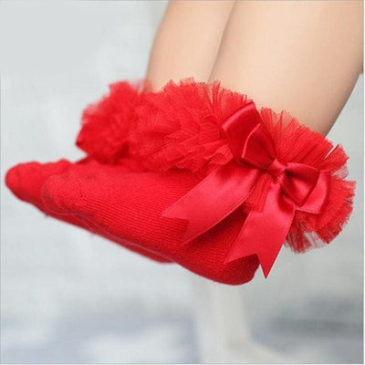 Short Ankle Bow Sock - Red / 4T To 6T - Girls
