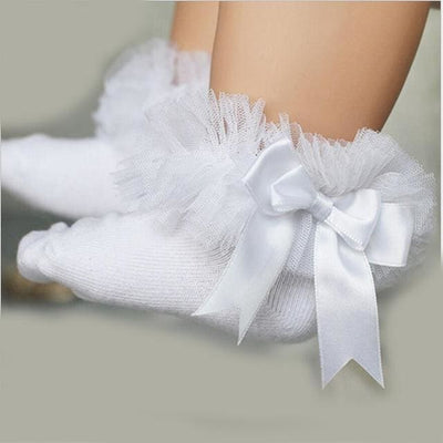 Short Ankle Bow Sock - White / 4Y To 6Y - Girls
