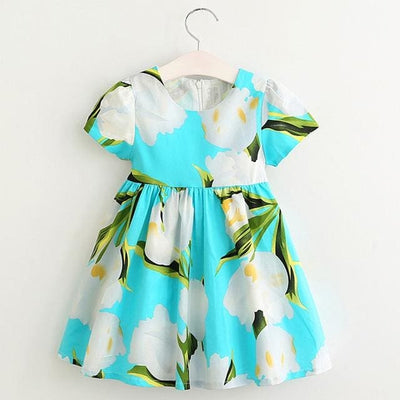 Short Sleeve Cotton Flowers Dress - Girls