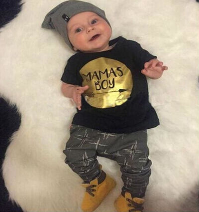 Short Sleeve T-Shirt + Pants Infant Clothing - Black Gold / 3M - Baby Boys