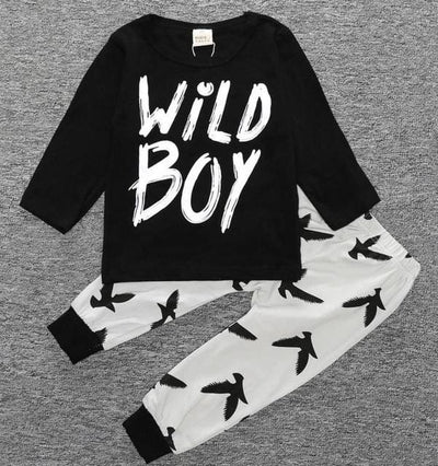 Short Sleeve T-Shirt + Pants Infant Clothing - Black White / 3M - Baby Boys