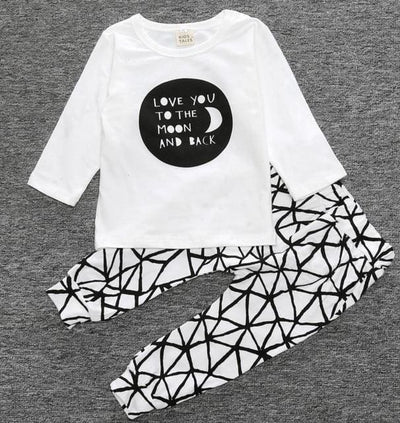 Short Sleeve T-Shirt + Pants Infant Clothing - Black White Panda / 3M - Baby Boys