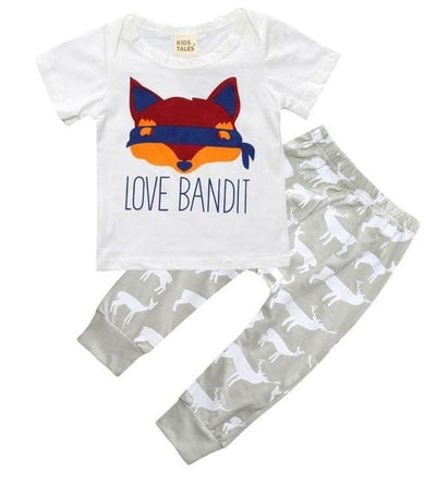 Short Sleeve T-Shirt + Pants Infant Clothing - Lavender / 3M - Baby Boys