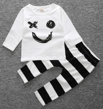 Short Sleeve T-Shirt + Pants Infant Clothing - White Smile / 3M - Baby Boys