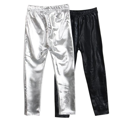 Skinny Gold Black Red Silver Kid Leather Pants - Girls