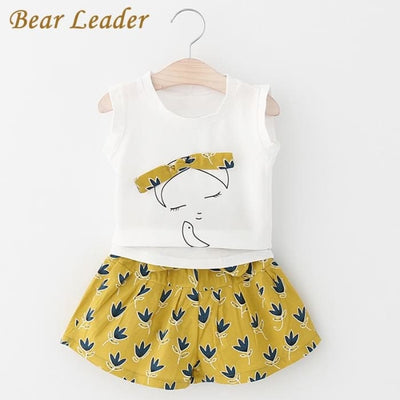 Sleeveless Cut Girls T-Shirt+Print Pants 2Pcs - Girls