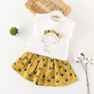 Sleeveless Cut Girls T-Shirt+Print Pants 2Pcs - Gold / 3Y - Girls