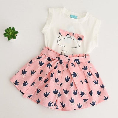 Sleeveless Cut Girls T-Shirt+Print Pants 2Pcs - Pink / 3Y - Girls