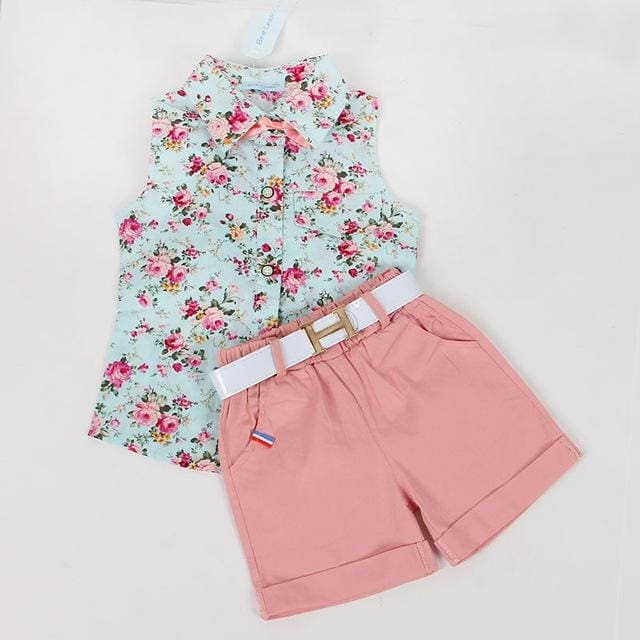 Sleeveless Floral Print Design Vest+Shorts - Girls