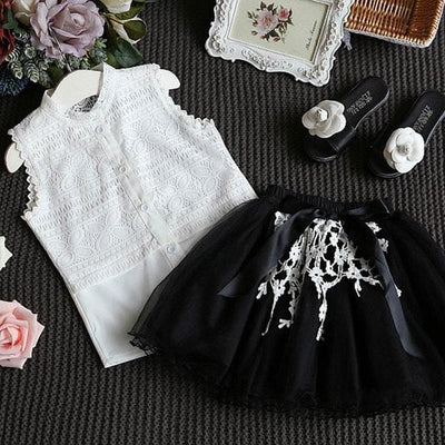 Sleeveless T-Shirt+Shorts 2Pcs - Black / 3Y - Girls