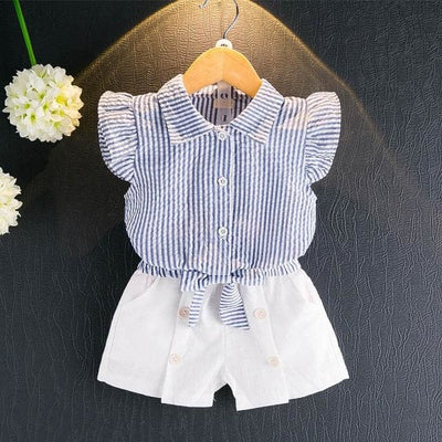 Sleeveless T-Shirt+Shorts 2Pcs - Blue 1 / 3Y - Girls