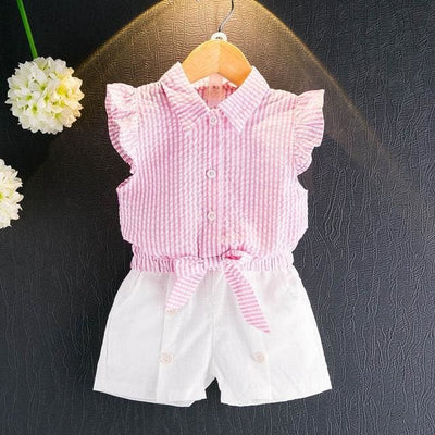 Sleeveless T-Shirt+Shorts 2Pcs - Pink / 3Y - Girls