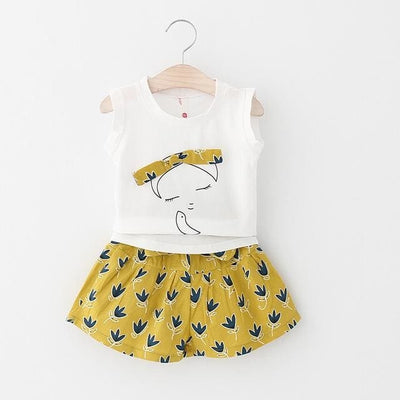Sleeveless T-Shirt+Shorts 2Pcs - Yellow / 3Y - Girls