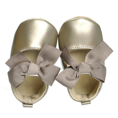 Soft Soled Pu Leather - Gold / 0-6 Months - Baby Girls