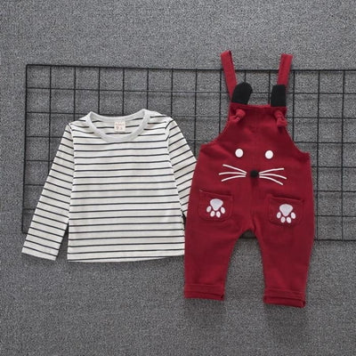 Spring Autumn Children Cotton Cartoon T Shirt Straps - Baby Girls