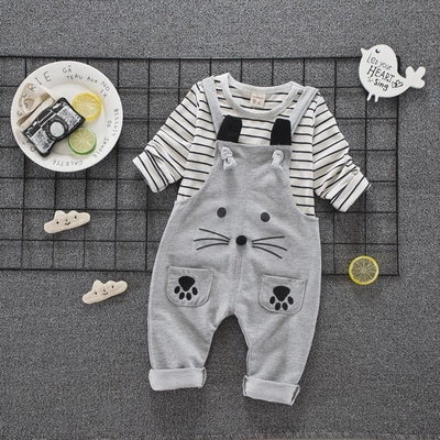 Spring Autumn Children Cotton Cartoon T Shirt Straps - Grey / 9M - Baby Girls