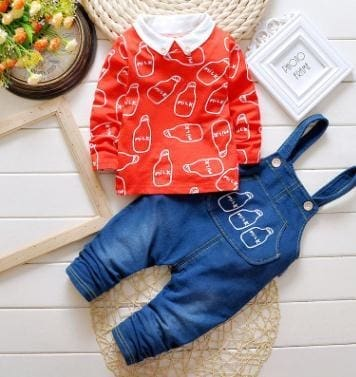 Spring Autumn Clothing Set Girls T Shirt+Overalls - Orange Red / 2Y - Girls