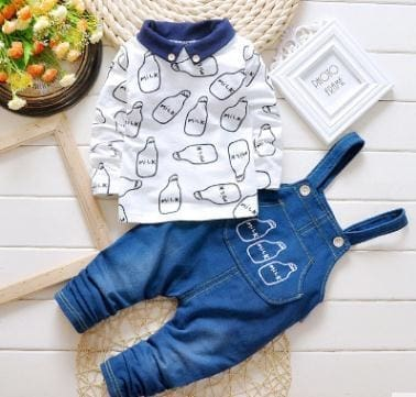 Spring Autumn Clothing Set Girls T Shirt+Overalls - White / 2Y - Girls