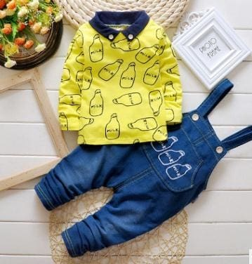 Spring Autumn Clothing Set Girls T Shirt+Overalls - Yellow / 2Y - Girls