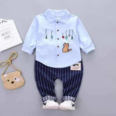 Spring Autumn Fashion Sets Embroidery Cartoon 2 Pcs - Blue / 3Y - Baby Boys