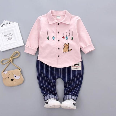 Spring Autumn Fashion Sets Embroidery Cartoon 2 Pcs - Pink / 3Y - Baby Boys