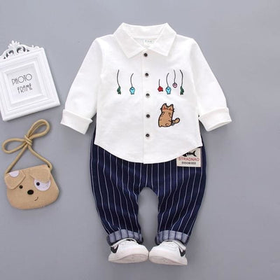 Spring Autumn Fashion Sets Embroidery Cartoon 2 Pcs - White / 3Y - Baby Boys