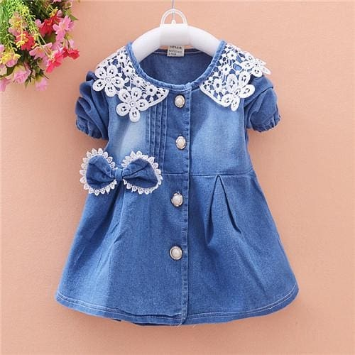 Spring Autumn Lace Jeans Dress - Girls