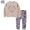 Spring Fashion Long Sleeve Sweater+Print Pants Tracksuit - Girls