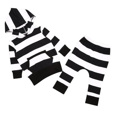 Stripe Long Sleeve Hoodies - Black / 3M - Baby Boys