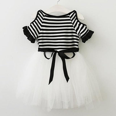 Striped Black And White Dress - Black / 3Y - Girls