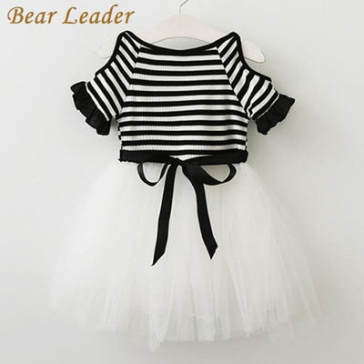 Striped Black And White Dress - Girls