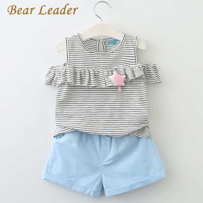 Striped Children Clothing Toddler Girl Tops+Shorts - Pink 1 / 2Y - Girls